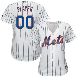 Women New York Mets Majestic White Royal Home Cool Base Custom MLB Jersey