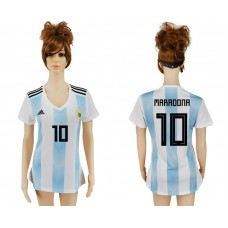 2018 World Cup Argentina home aaa women 10 soccer jersey