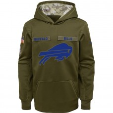Buffalo Bills Nike Youth Salute to Service Pullover Performance Hoodie Green