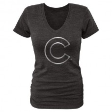 2016 Chicago Cubs Fanatics Apparel Women's Platinum Collection V-Neck Tri-Blend T-Shirt Black
