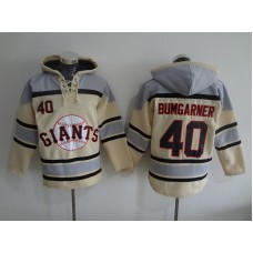 2016 MLB San Francisco Giants 40 Bumgarner cream Lace Up Pullover Hooded Sweatshirt