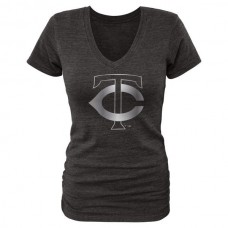2016 Minnesota Twins Fanatics Apparel Women's Platinum Collection V-Neck Tri-Blend T-Shirt  Black