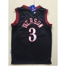2017 NBA Philadelphia 76ers 3 Allen Iverson black kids jerseys