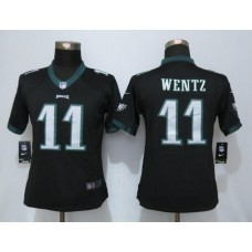 2016 Womens Philadelphia Eagles 11 Wentz Black Nike Limited Jerseys