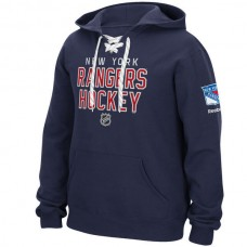 2016 NHL New York Rangers Reebok Stitch Em Up Lace Hoodie - Blue