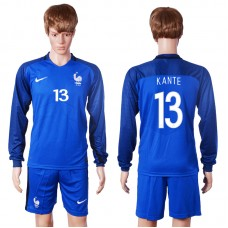 2016 European Cup France home long sleeve 13 Kante Blue Soccer Jersey